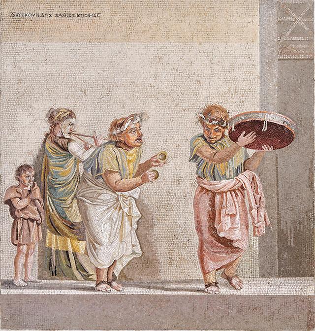history of cymbals Roman mosaic
