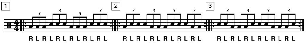 drum exercises playing shapes 1 to 3
