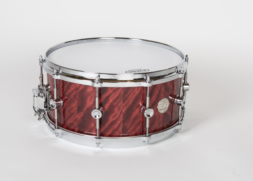 """A 14"""" x 6.5"""" Doc Sweeney birch snare drum in a Blaze Flame finish. Steve Stecher says, """"We are making a series of these snares in a variety of unique dye/oil finishes."""""""