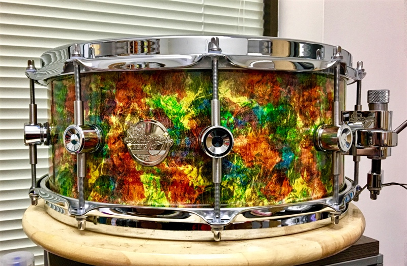 """The Electric Kool-Aid 14"""" x 6"""" snare is made of curly maple."""