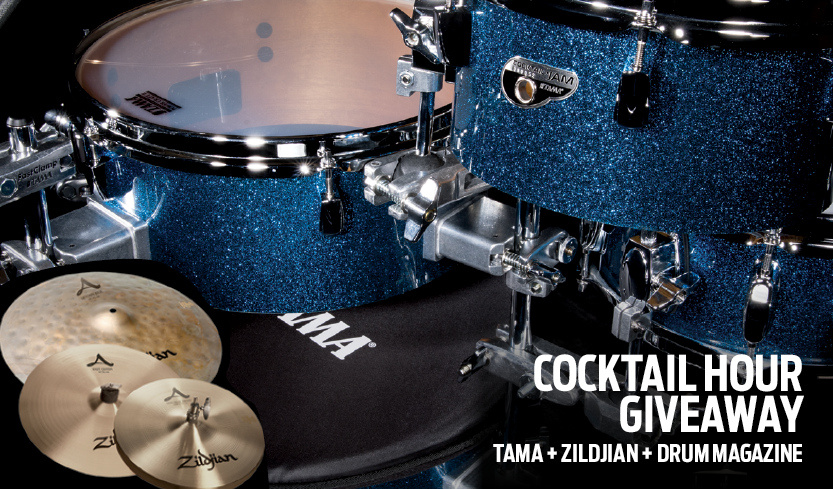 """/></p><br /> <p>TAMA, Zildjian & DRUM! Magazine are offering one lucky winner a TAMA<br /> Cocktail-JAM kit equipped with Zildjian cymbals! Winner selects their finish of choice: Bright Orange Sparkle, Midnight Gold Sparkle, or Indigo Sparkle. The Zildjian City Pack Cymbal Setis the perfectcombination of sound & practicality. This 4-cymbal set was designed todeliver the legendary Zildjian sound for smaller sized drum kits andpercussion set-ups.<br /> <strong>One lucky winner will receive:</strong><br /> Cocktail Kit (Winner Chooses Finish: Bright Orange Sparkle, Midnight Gold Sparkle, or Indigo Sparkle): 6"""" x 16"""" BD, 5"""" x 10"""" TT, 5.5"""" x 14"""" FT, 5"""" x 12"""" SD, single pedal, single tom attachment (x2),bass drum mute, drum bag, hardware bag; Zildjian City Pack Cymbal Set (includes new 18"""