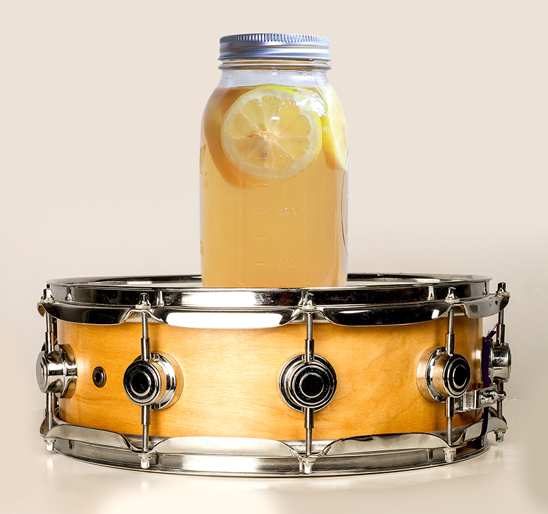 snare drum with drink on it