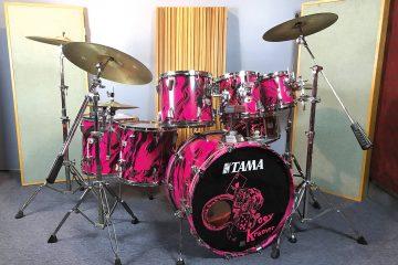 Aerosmith's Joey Kramer's pink 1980s Tama drum set