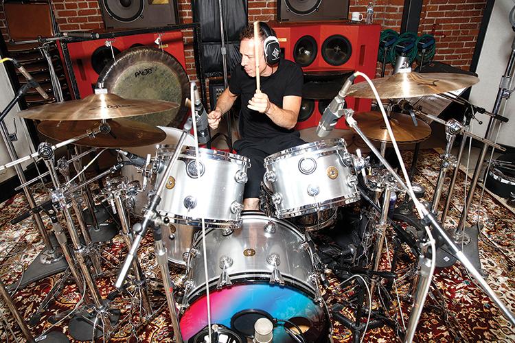 Stephen Perkins playing drums in-studio with Pan Rocks