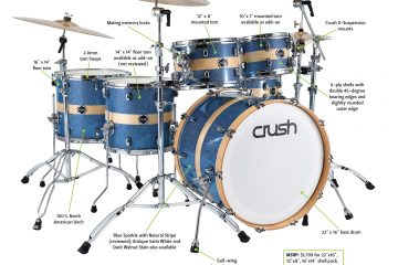 Crush Sublime Birch drum set blue with natural wood stripe