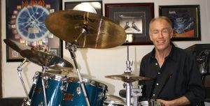 Darryl Johnston, inventor of the Axis bass drum pedal, at his drum set.