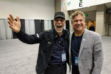 Dom Famularo and Alfred Music's Dave Black at PASIC 2017. Photo by Nicolas Grizzle