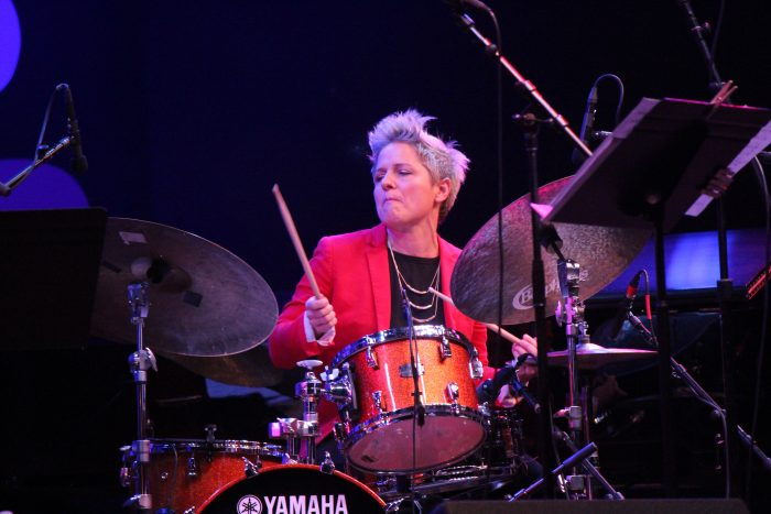 Drummer Allison Miller plays with in a tribute to Mary Lou Williams at the 2019 Monterey Jazz Festival