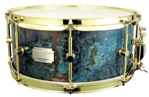 """Canopus Stabilized Wood 14"""" x 6.5"""" snare drum in Bucket Turquoise finish with triple-flange hoops and brass plated hardware"""
