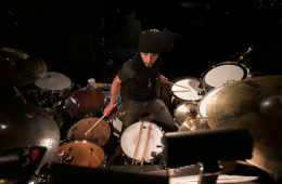 Drummer John Mader plays with Hamilton the musical