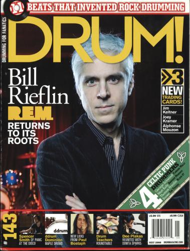 REM drummer Bill Rieflin drum magazine cover