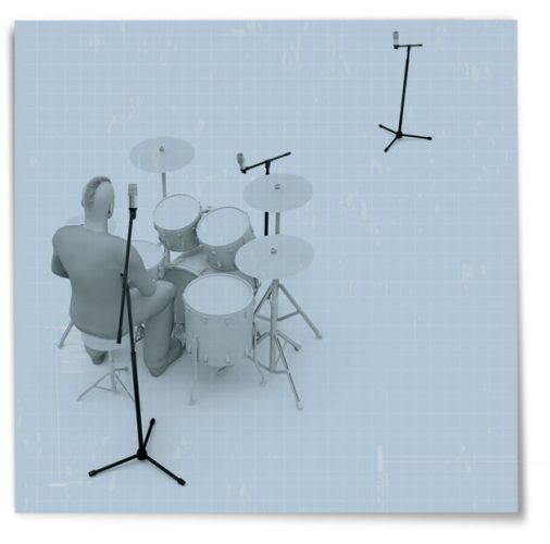 one microphone to record drums
