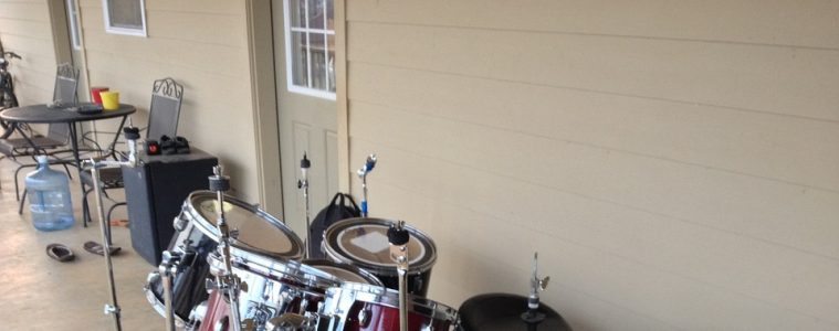 drum set outside the house
