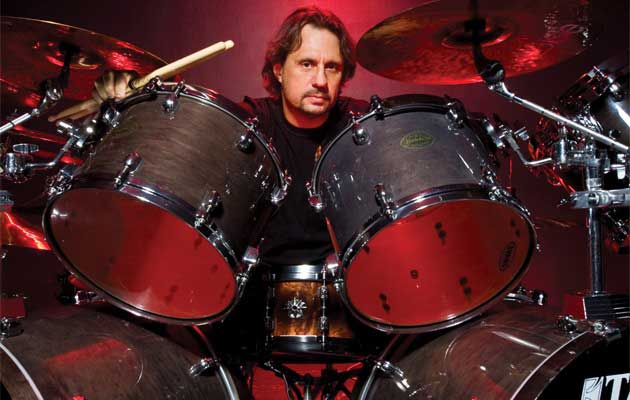 Dave Lombardo with his drum set