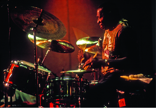 Elvin Jones playing drums