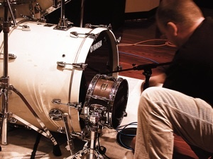 Fig. 1. Borden places an SM57 inside the bass drum and a Subkick on the outside