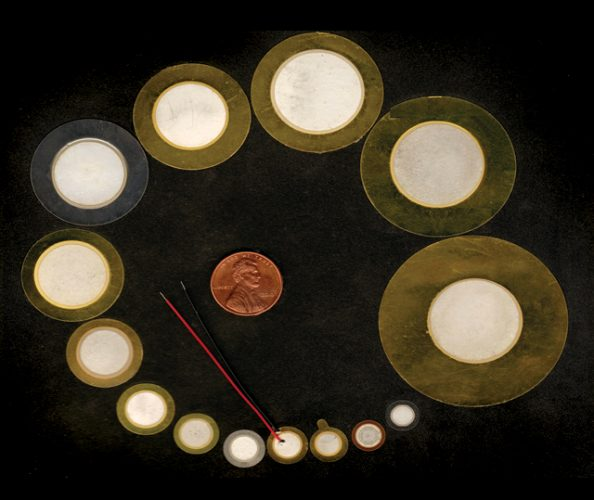 """Piezo discs come in a variety of sizes, typically 0.12""""–2.5"""" in diameter."""