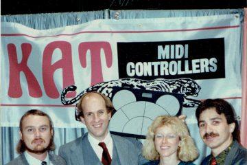 KAT percussion employees Greg Irwin, Bill Katoski, Maria Katoski and Mario DeCiutiis with a drumKAT MIDI percussion multipad in 1987