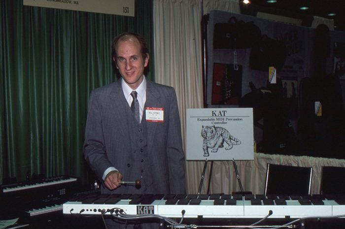 Bill Katoski demos the first malletKAT at a trade show in 1996