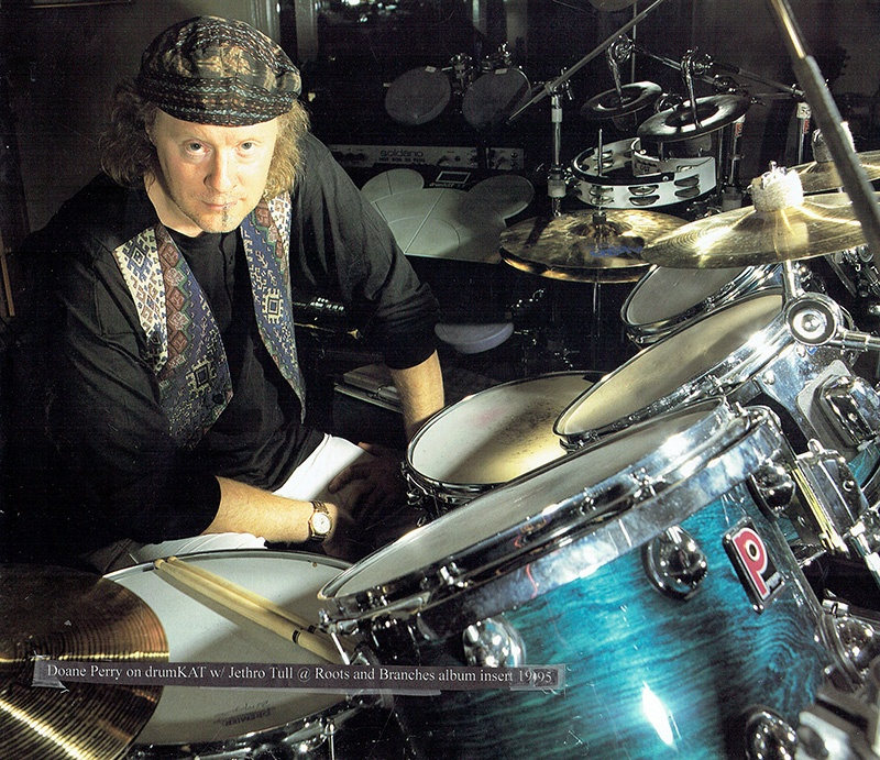 Doane Perry with a drumKAT and his drum set used with Jethro Tull in 1995