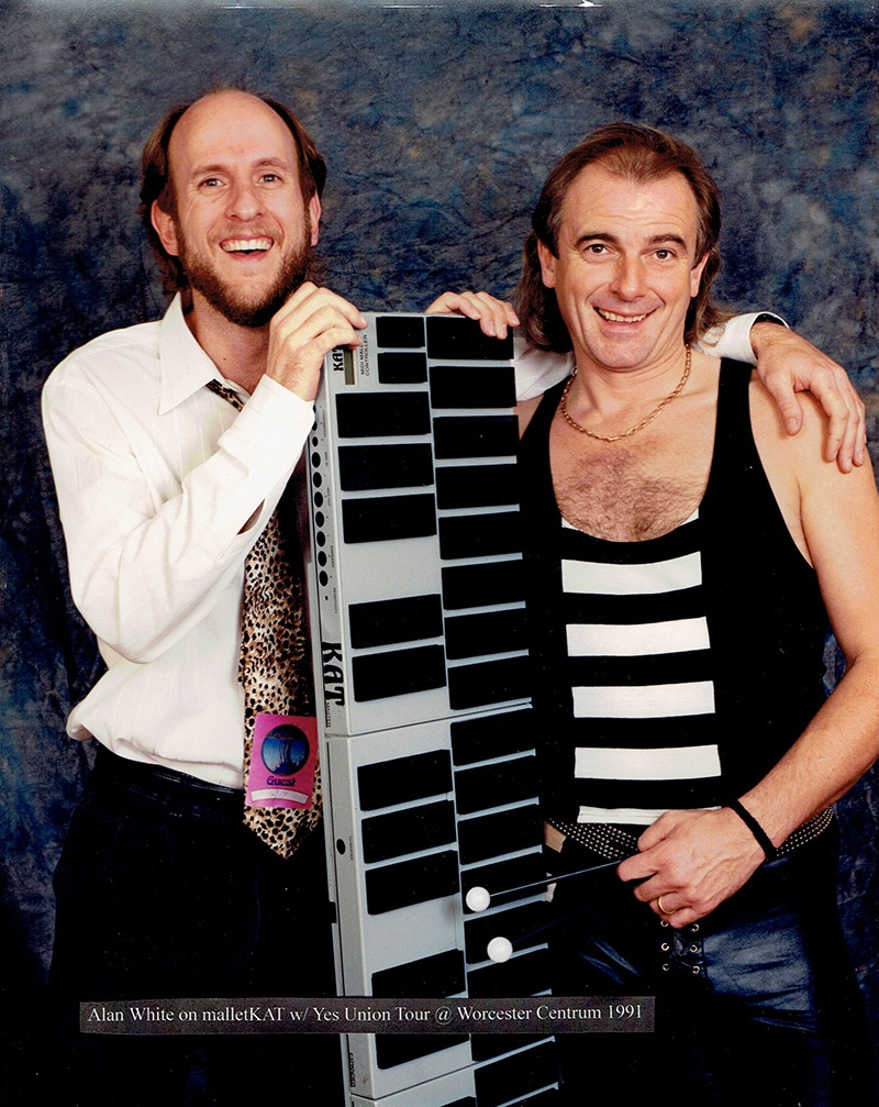 Bill Katoski and Alan White of Yes with his malletKAT in 1991